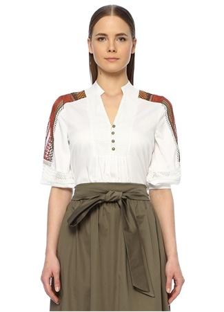 Network Kadın Regular Fit Beyaz Nakış Detaylı Bluz M EU female