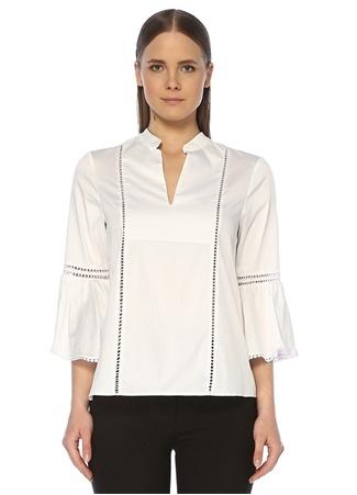Network Kadın Regular Fit Beyaz Şerit Detaylı Bluz S EU female
