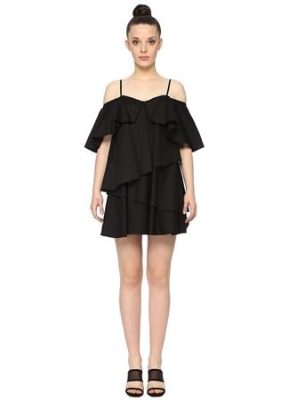 Network Kadın Siyah Askılı Fırfırlı Mini Elbise 34 EU