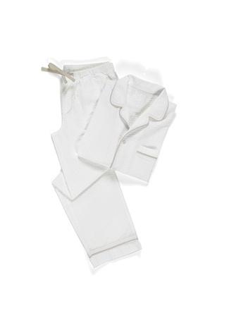Casual Avenue Unisex Alison Seersucker Beyaz Dokulu Pijama Takımı M unisex
