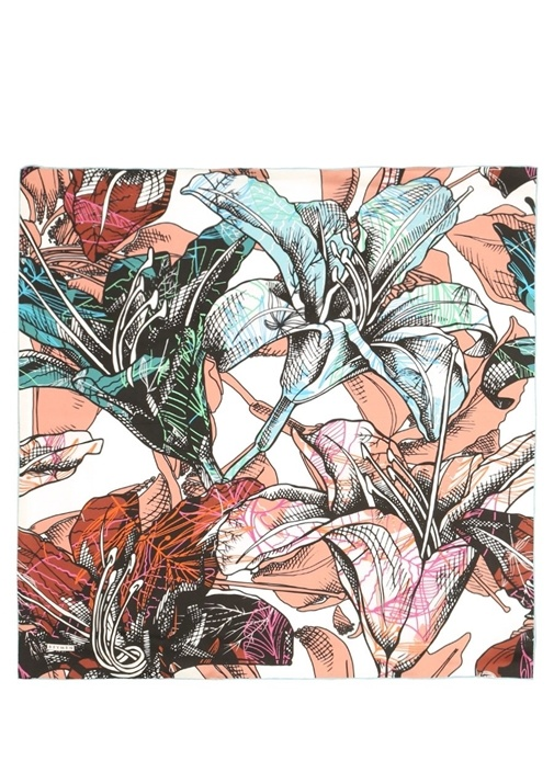 Çiçek Desenli 90x90 cm Kadın İpek Eşarp