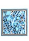 Mavi Çiçek Desenli 90x90 cm Kadın İpek Eşarp