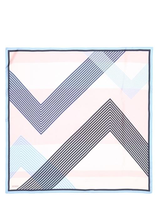Mavi Desenli 110x110 cm Kadın İpek Eşarp