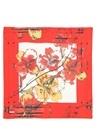 Pembe Çiçek Desenli 90x90 cm Kadın İpekEşarp