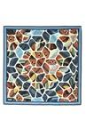 Mavi Mozaik Çiçekli İpek Twill 90x90cm Kadın Eşarp