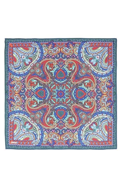 Mavi Şal Desenli Twill İpek 90x90 cm Kadın Eşarp