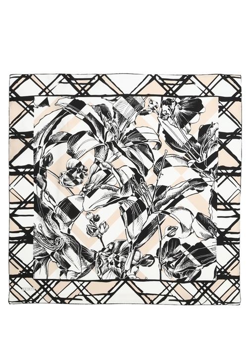 Siyah Beyaz Çiçekli Twill İpek 90x90cm Kadın Eşarp
