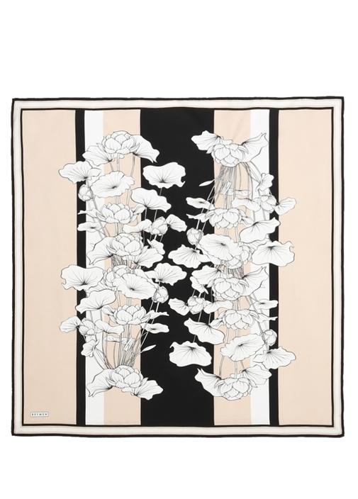 Siyah Çiçekli Twill İpek 90x90 cm KadınEşarp