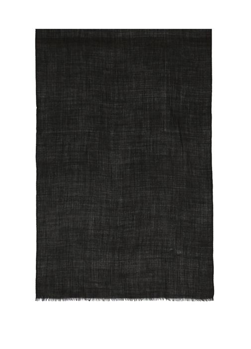 Siyah Mikro Desenli Kadın Yün Şal