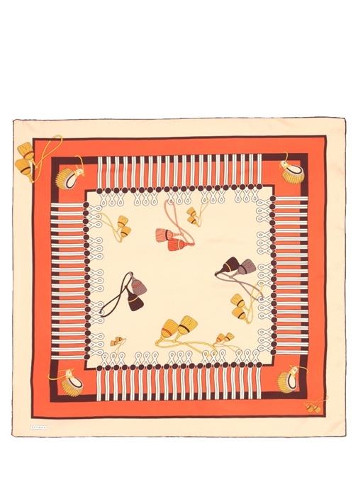 Colorblocked Desenli 90x90 cm Kadın İpek Eşarp