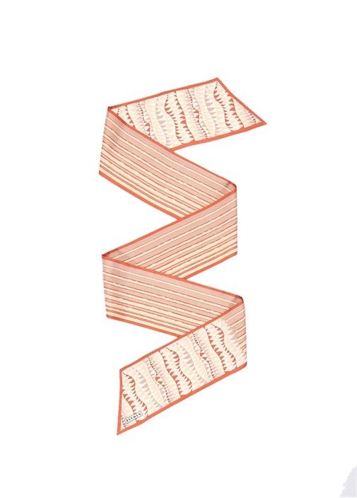 Turuncu Geometrik Desenli Kadın İpek Şal