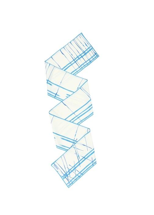 Mavi Beyaz Çizgili Kadın İpek Şal