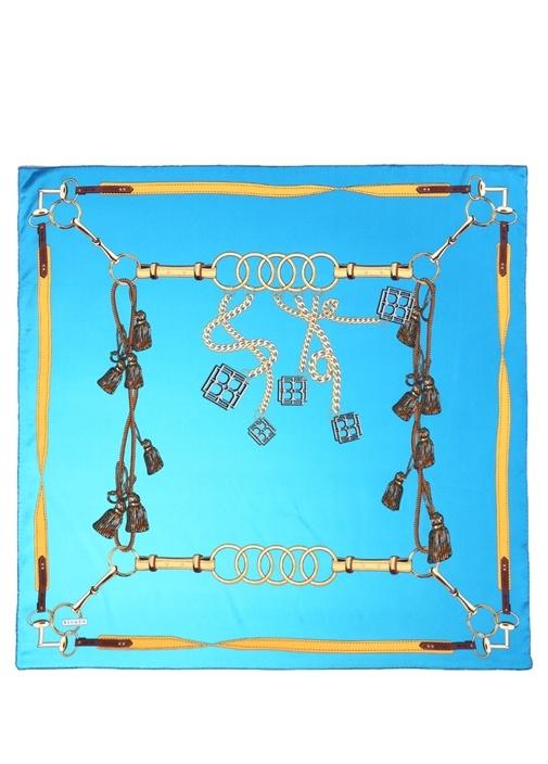 Mavi Zincir Desenli 90x90 cm Kadın Saten Eşarp