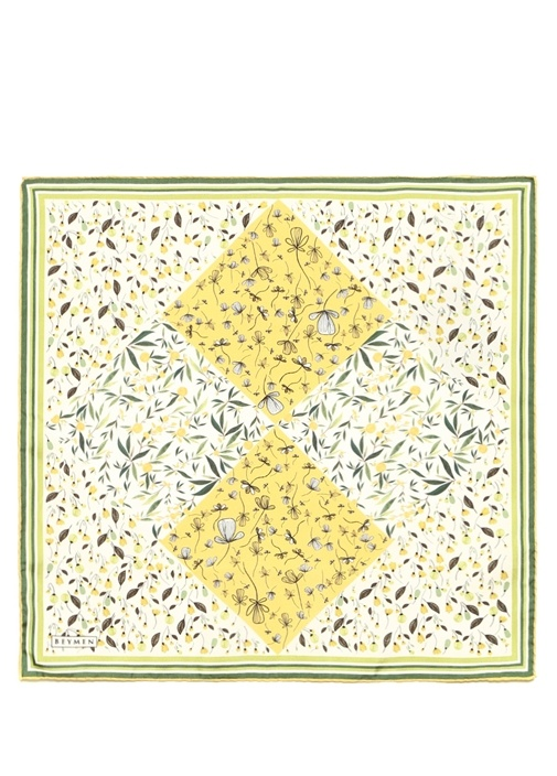 Yeşil Çiçek Desenli Kadın İpek Fular