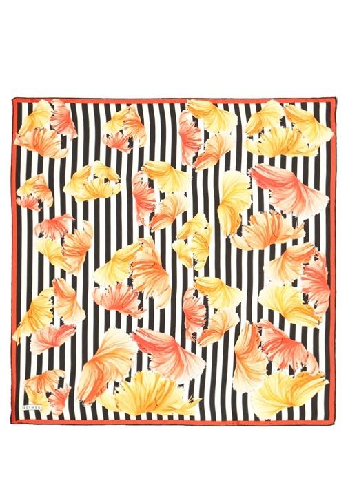 Colorblocked Desenli 70x70 cm Kadın İpek Eşarp