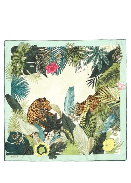 Yeşil Yaprak Desenli 70x70 cm Kadın İpek Eşarp