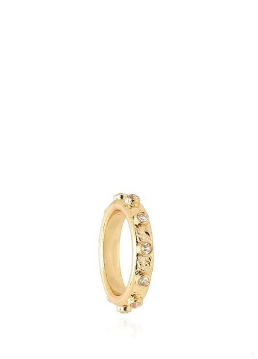 Gold Yuvarlak Formlu İşlemeli Eşarp Yüzüğü