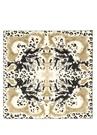 Beyaz Haki Karışık Desenli 90x90 Kadın İpek Eşarp