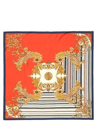 Kadın Kırmızı Gold Desenli 90x90 cm İpek Eşarp EU