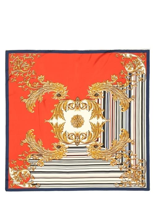 Kırmızı Gold Desenli 90x90 cm Kadın İpek Eşarp
