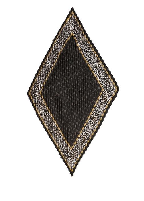 Siyah Logolu Pileli Kadın Fular