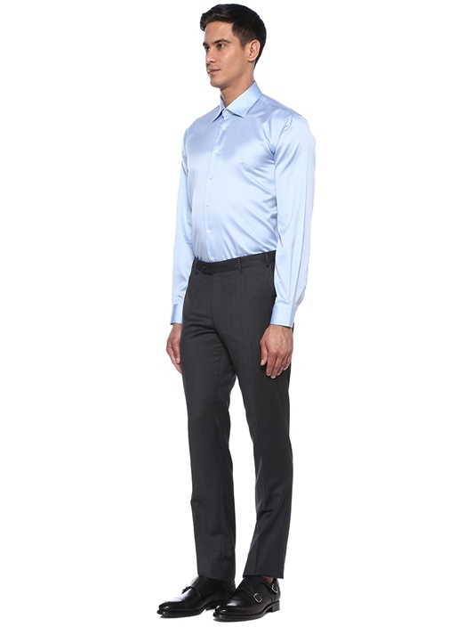 Mavi İngiliz Yaka Klasik Formal Gömlek