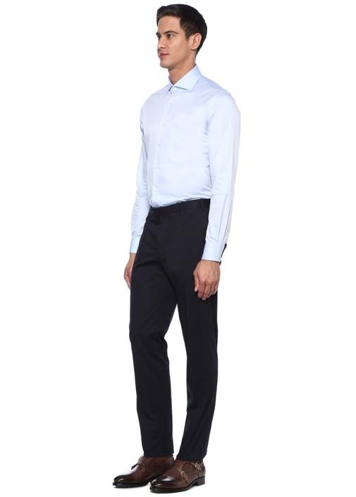 Custom Fit Mavi İngiliz Yaka Gömlek