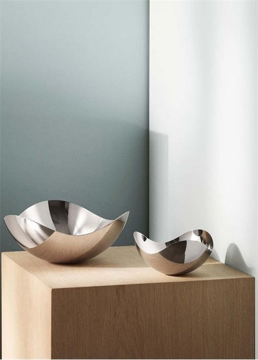 Bloom Large Silver Çelik Dekoratif Kase