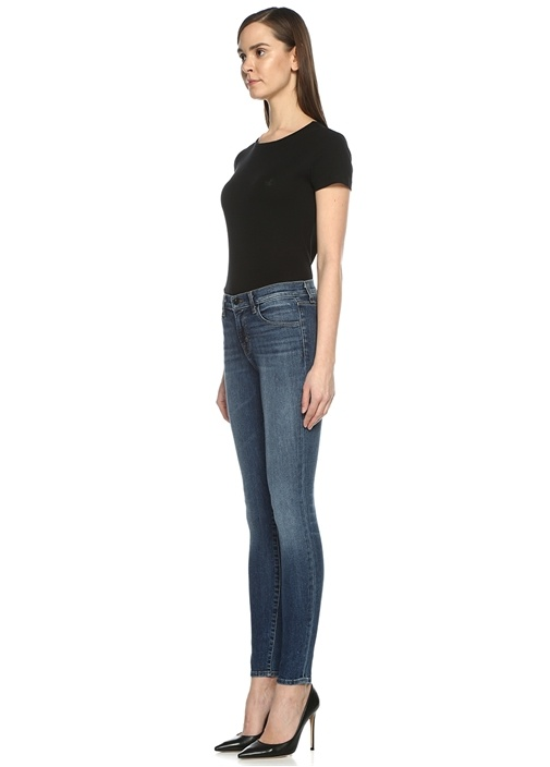 Mavi Yüksek Bel Dar Paça Jean Pantolon