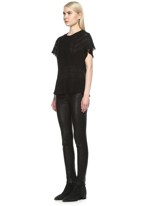 Tamya Siyah Dantelli Kolu Volanlı Transparan Bluz