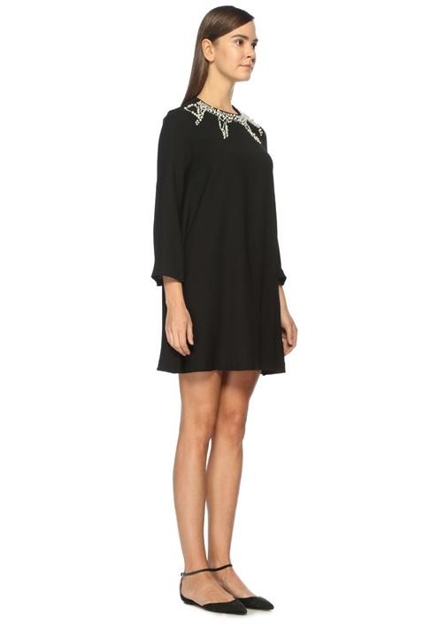 İnci Detaylı Siyah Mini Elbise