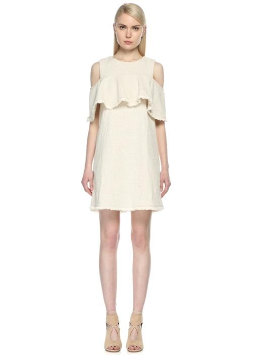 Fırfırlı Beyaz Mini Elbise