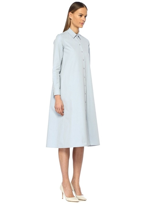 Mavi Bol Kesim Midi İpek Gömlek Elbise