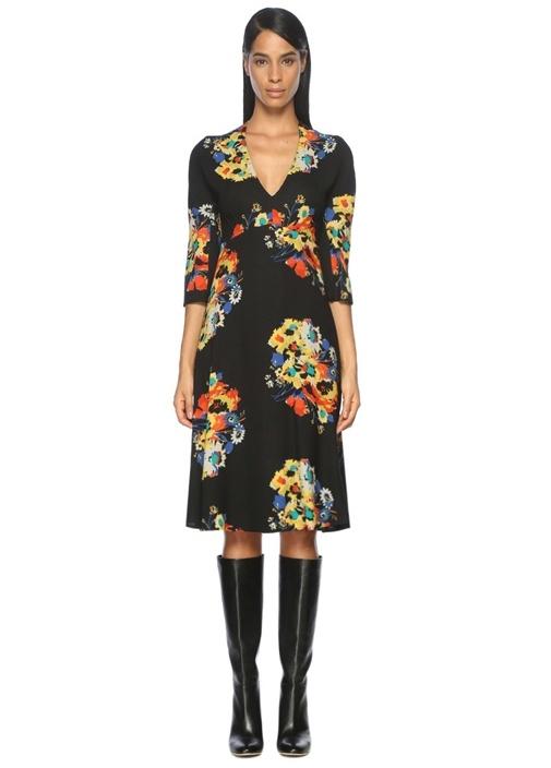 Çiçek Desenli Siyah Midi Elbise