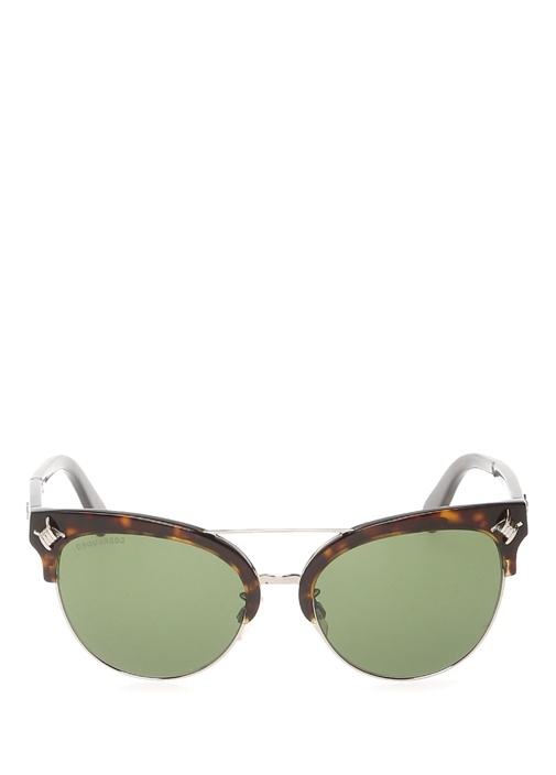 Kahverengi Yeşil Çift Köprülü Kadın Güneş Gözlüğü