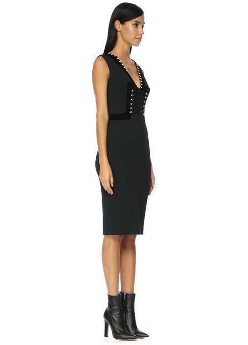 Bedene Oturan Siyah Midi Elbise