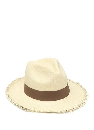 Erkek Bej Kahverengi Bantlı Hasır Şapka M EU