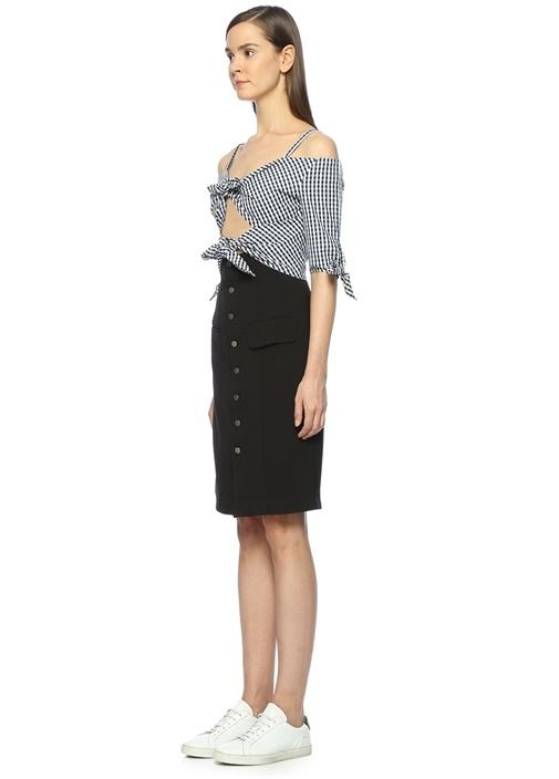 İnce Askılı Bağcık Detaylı Mini Elbise