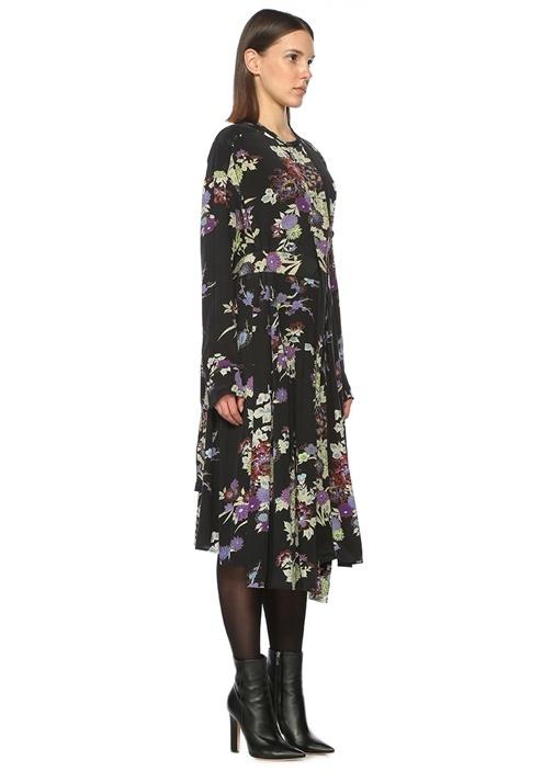 Desenli Çok Renkli Anvelop Siyah Midi Elbise