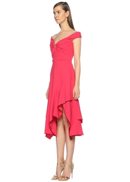 Asimetrik Etek Kesimli Pembe Midi Elbise