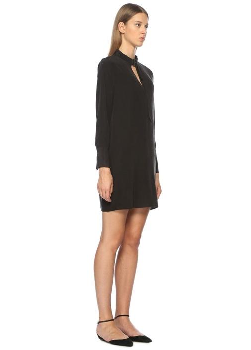 Yakası Kemer Detaylı Siyah İpek Mini Elbise