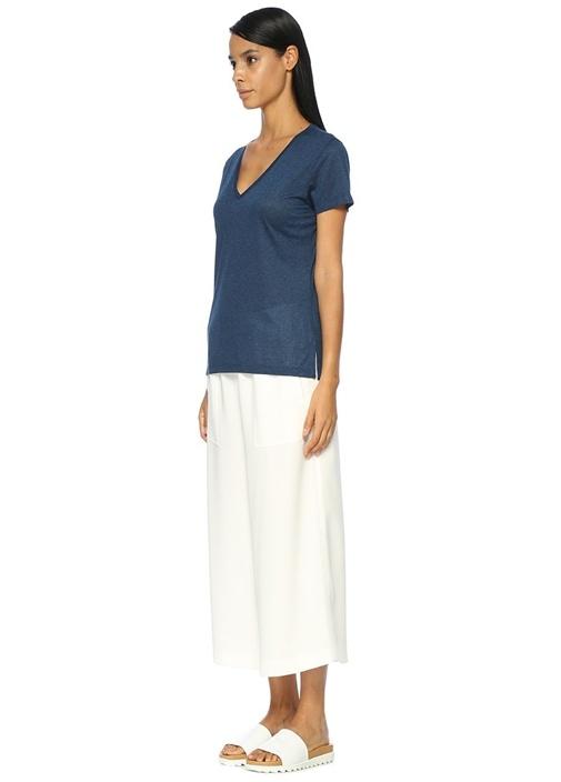 Lacivert Standart Fit V Yaka Basic Tshirt
