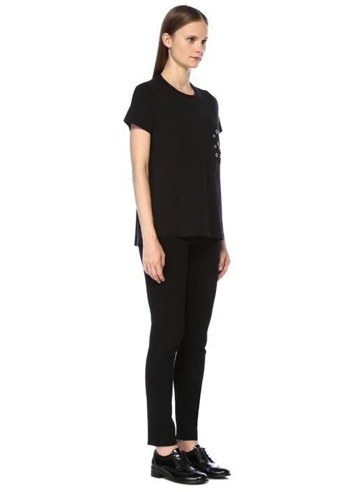 Siyah Kuşgözlü Cep Detaylı T-shirt