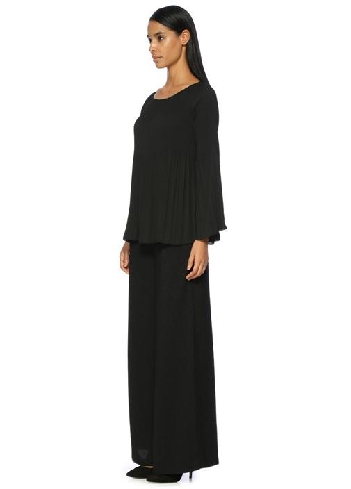 Siyah Pliseli Uzun Kol Şifon Bluz
