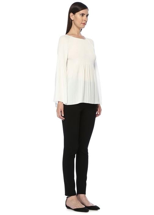 Kırık Beyaz Pliseli Uzun Kol Şifon Bluz