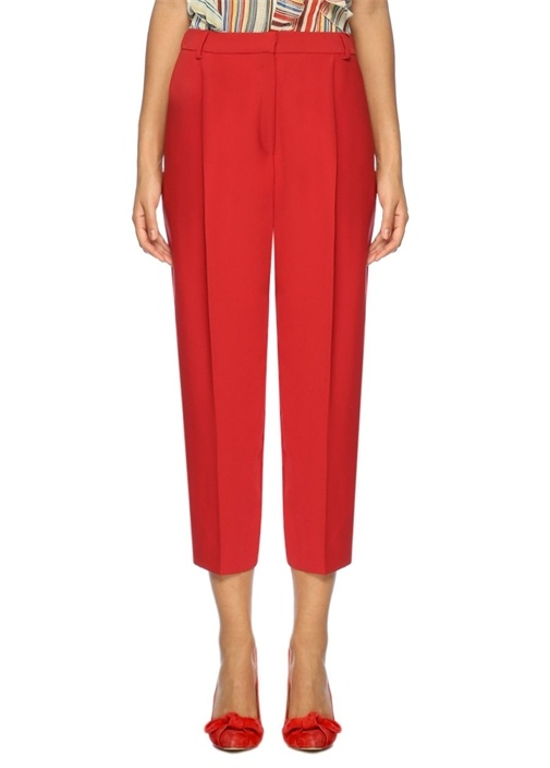 Kırmızı Kısa Paça Krep Pantolon