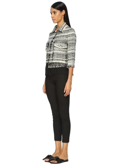 Siyah Beyaz Simli Püsküllü Tweed Ceket
