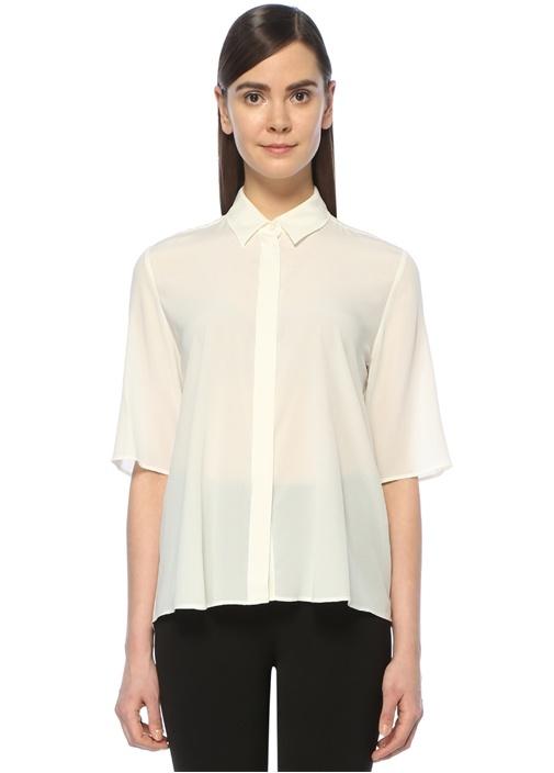 Beyaz Kısa Kollu İpek Casual Fit Gömlek