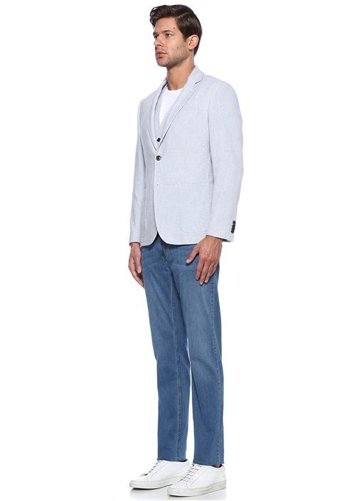 Açık Mavi Desenli Smart Ceket