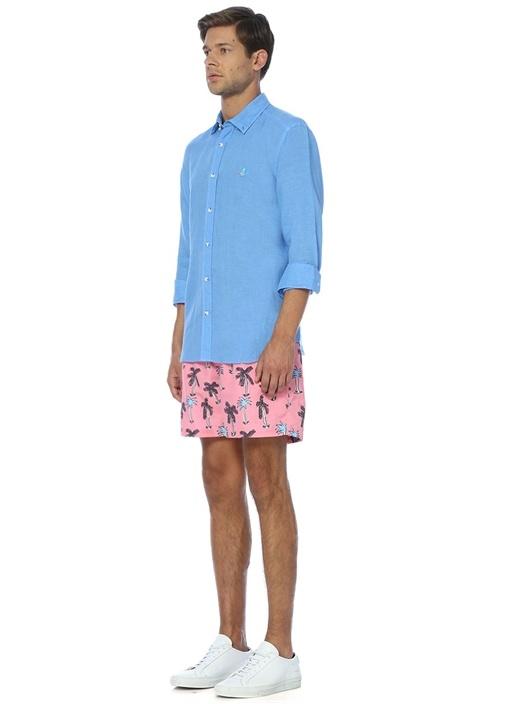 Mavi Keten Comfort Fit Gömlek